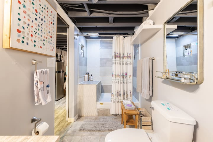 Spacious shower with built-in seating; excellent water pressure, large body towels, two terry bath robes. Shower gels, bar soap, shampoo and conditioner. Extra toilet paper and trash bags, exhaust fan.