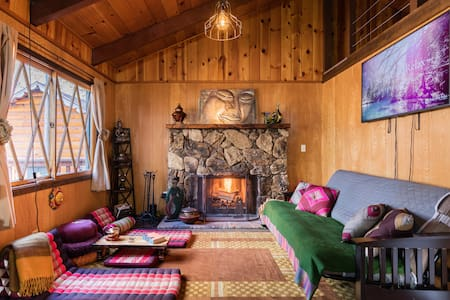 Tibetan Theme Cozy Cabin Surrounded by Pine Trees