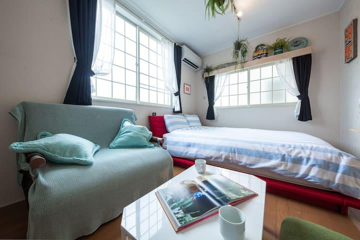 サーファー最適、Private apartment room・江ノ島散歩・駅近・海近、自転車貸出