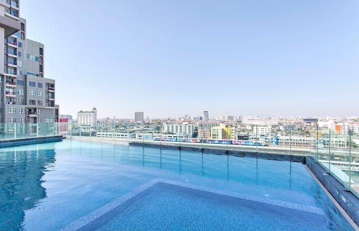 1 曼谷市区 BTS 无边泳池 WIFI 豪华公寓 ICONSIAM