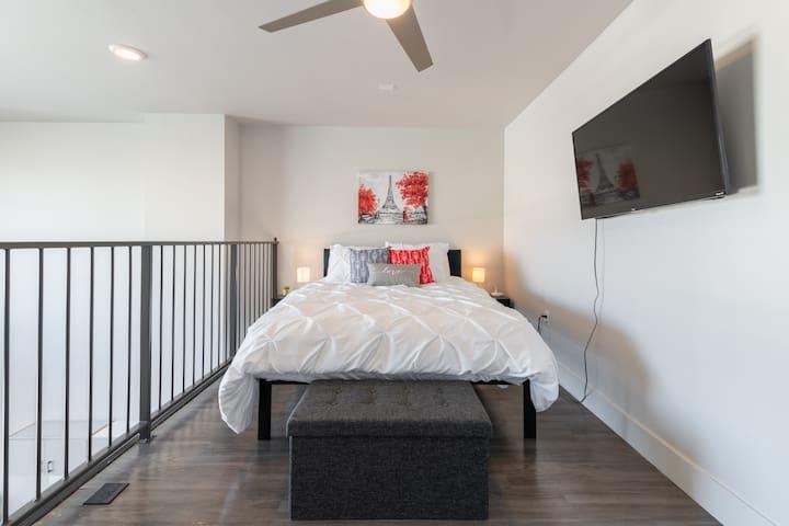 """Loft Bedroom with 43"""" 4K TV"""
