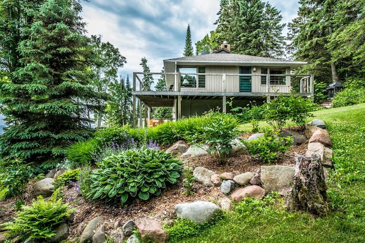 Namaste Main is a beautiful home in Lutsen with Lake Superior shoreline, lovely gardens, and room for the whole family