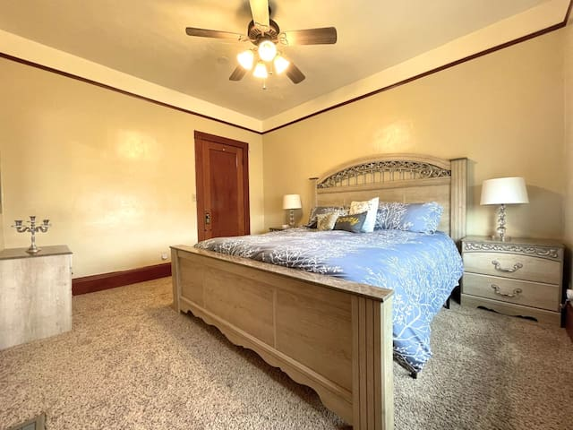 Bedroom #2 features a King-Sized, Sleigh Bed. Just like the other bedrooms, it features a full sized closet and charging station for your electronics. Our guests report that our beds are super comfortable.