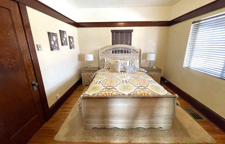 Bedroom #1 features another Queen-Sized, Sleigh Bed. As with the other two bedrooms, you'll find a charging station for your electronics and a full-sized closet.