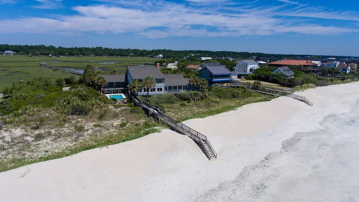 Sprawling Pawleys Island Oceanfront Estate with Private Pool, Hot Tub, Dock on t