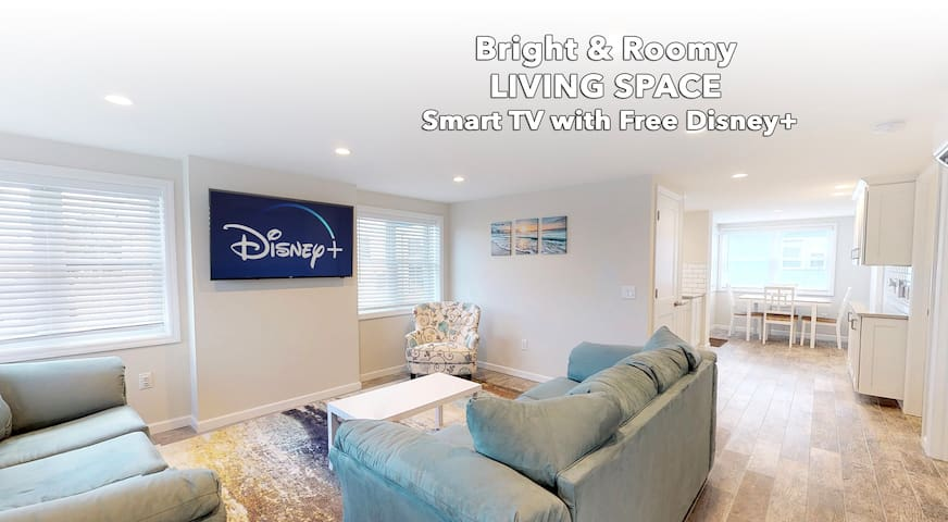 Smart TV with hundreds of channels, local news, FREE DISNEY + or sign in to your Netflix or Hulu app!