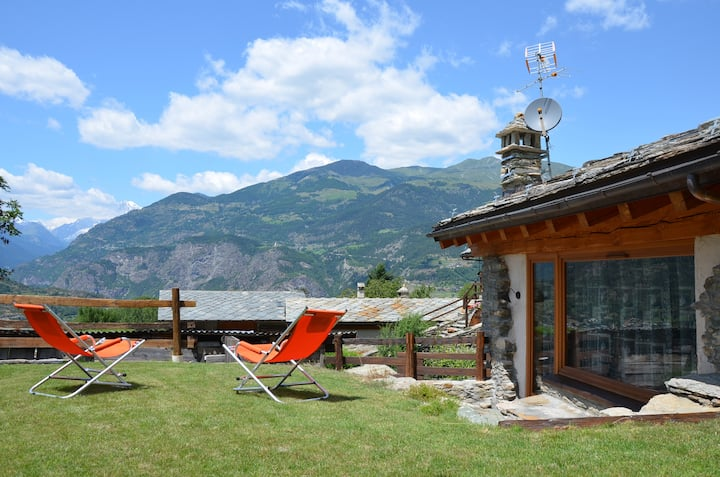 Holiday house with garden and enchanting view