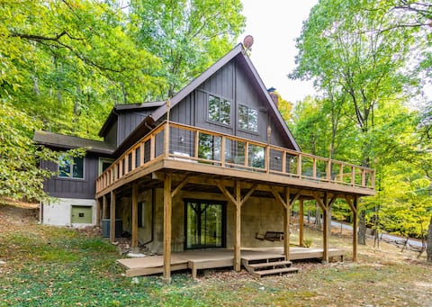 Chalet Cabin with Private Lake, WiFi, & Huge Deck!