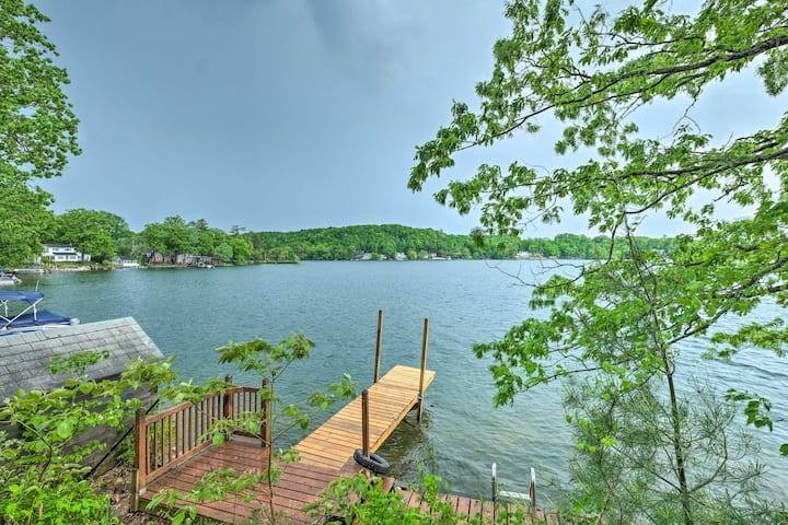 NEW! Quiet Cabin on Glen Lake w/ Boat Dock & Deck!