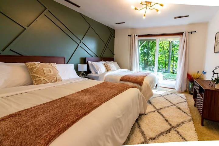 On the lower floor, sleep soundly with plush pillow top queen mattresses, colorful and inviting!