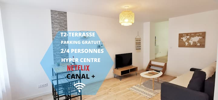 ★Appartement★ Premium★ RDC★ terrasse★ centre ville★ proche gare★netflix★