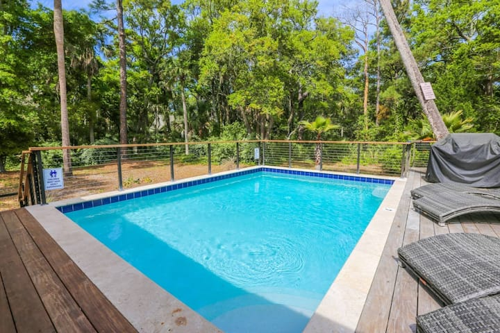 Luxury Renovation!  Private Heated Pool, Two Master Suites & Bunk Room.  Steps to Beach.