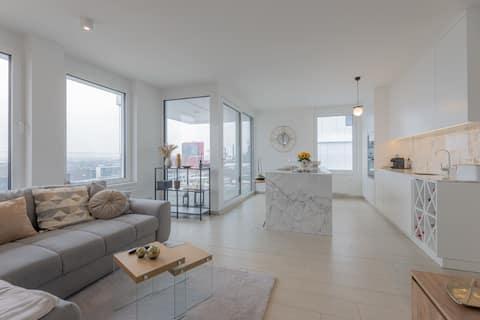 Panoramisch uitzicht 1BR Penthouse w Parkeren - Luxe toren