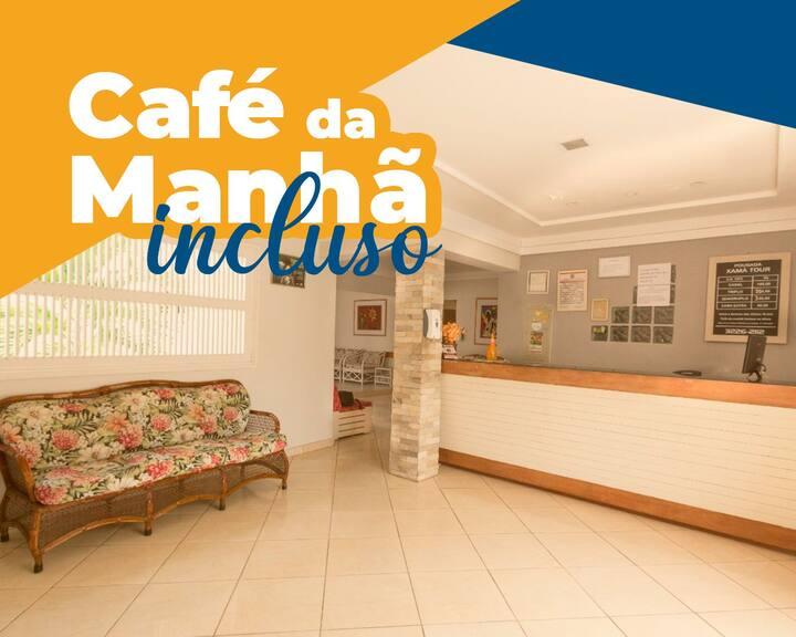 Quarto Duplo com Café da manhã Wi-fi,  e ar-condicionado.