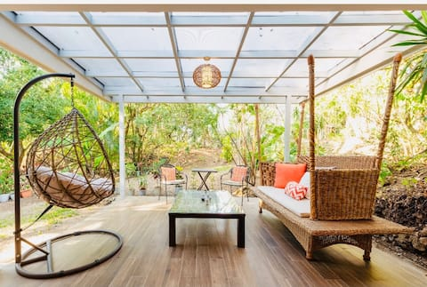 Modern Designed Blended in Nature Tropical Plants many Birds and Squirrels
