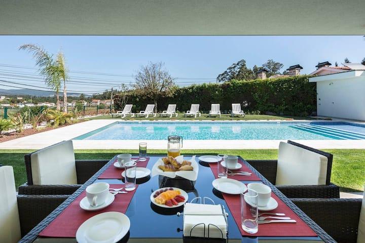 Villa de 3 habitaciones en Várzea, con piscina privada, jardín cerrado y WiFi - a 18 km de la playa