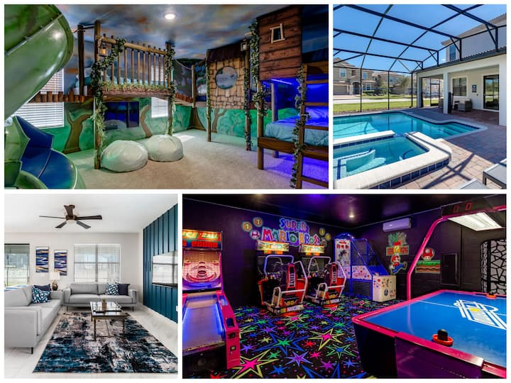 Peter Pan Villa - Treehouse Bunk Room, Mario Arcade, Pool/Spa w/Free Heat