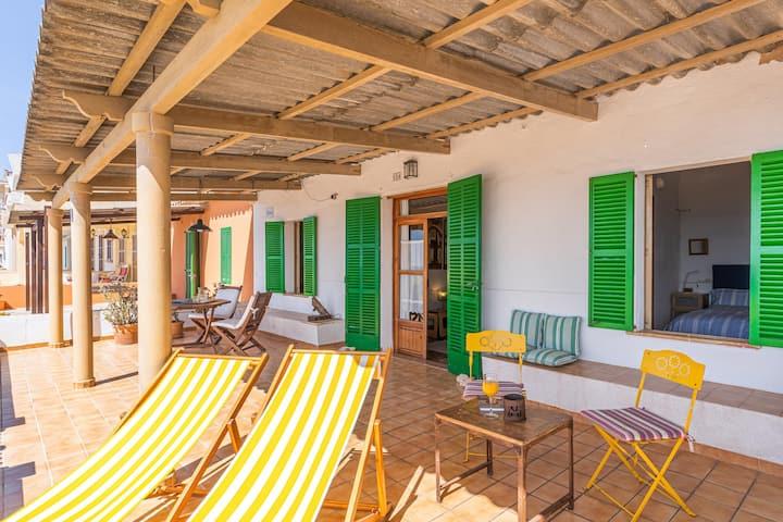 Holiday Home Miramar Sa Rapita with Sea and Mountain View, Garden & Terrace; Parking Available