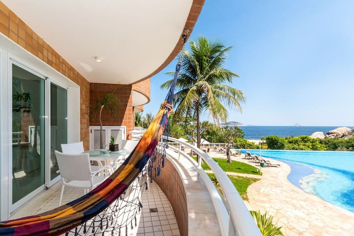Omar do Rio - GMO 1153/207: Excellent 2 Rooms with Balcony, View and Pool, Garage, Sauna, Gym, Home Office Space, Cinema Room, 02 minutes from Camboinhas Beach + Internet 240mbps