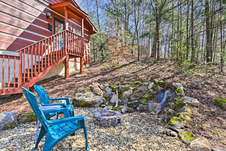 NEW! Cabin w/ Waterfall & Hot Tub, 1 Mi to Parkway