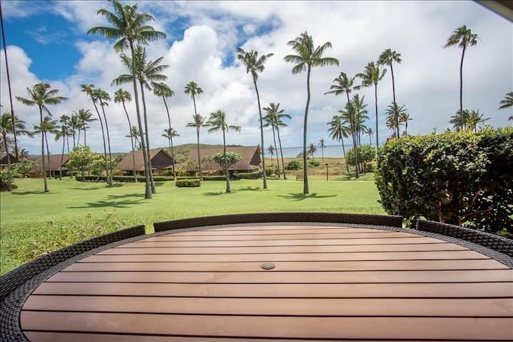 Ground-Floor, Ocean View Condo w/ Lanai, WiFi, Shared Pool - Steps to Beach!