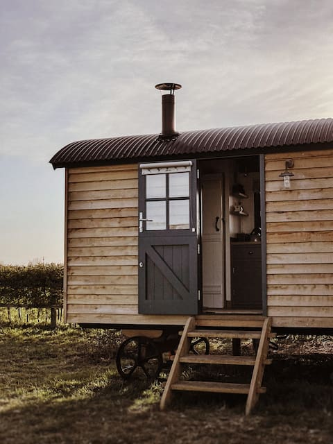 Luxurious Shepherd's Hut with Wood fired Hot Tub