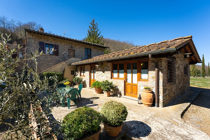 Casina Mario, in the heart of Chianti, immersed in vineyards and olive groves