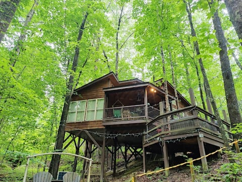 Eagle Treehouse Getaway with Hot Tub, Gas Fireplace, and Outdoor Firepit!