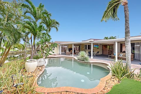 Private pool and canal home with Office space