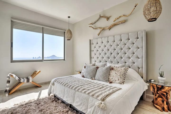 Comfortable king size bed in master bedroom.