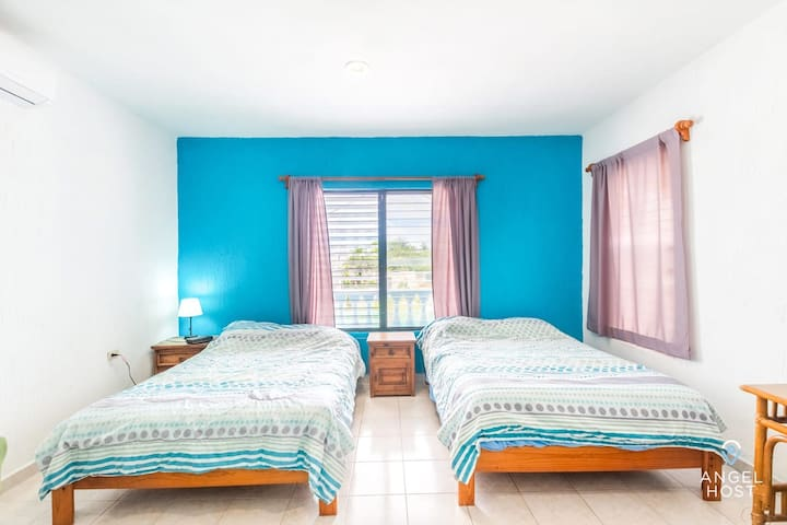 Bedroom 2 with two comfy double beds!