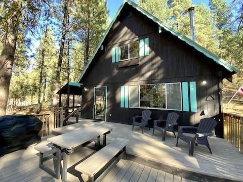 Cabane à copeaux de menthe ~ Vue sur le lac, Forêt, grande terrasse et foyer
