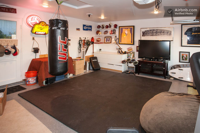 Sports fitness studio gym open garage door to view