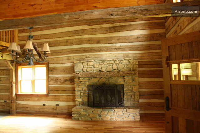 Authentic hand hewn log cabin in hot springs for Hewn log cabin kits