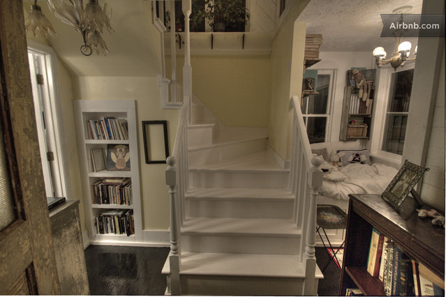stairs leading to suite.