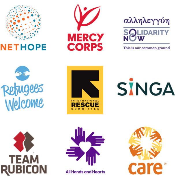 Les partenaires du programme Open Homes, dont Mercy Corps, Team Rubicon, SIGNA, Refugees Welcome, etc.
