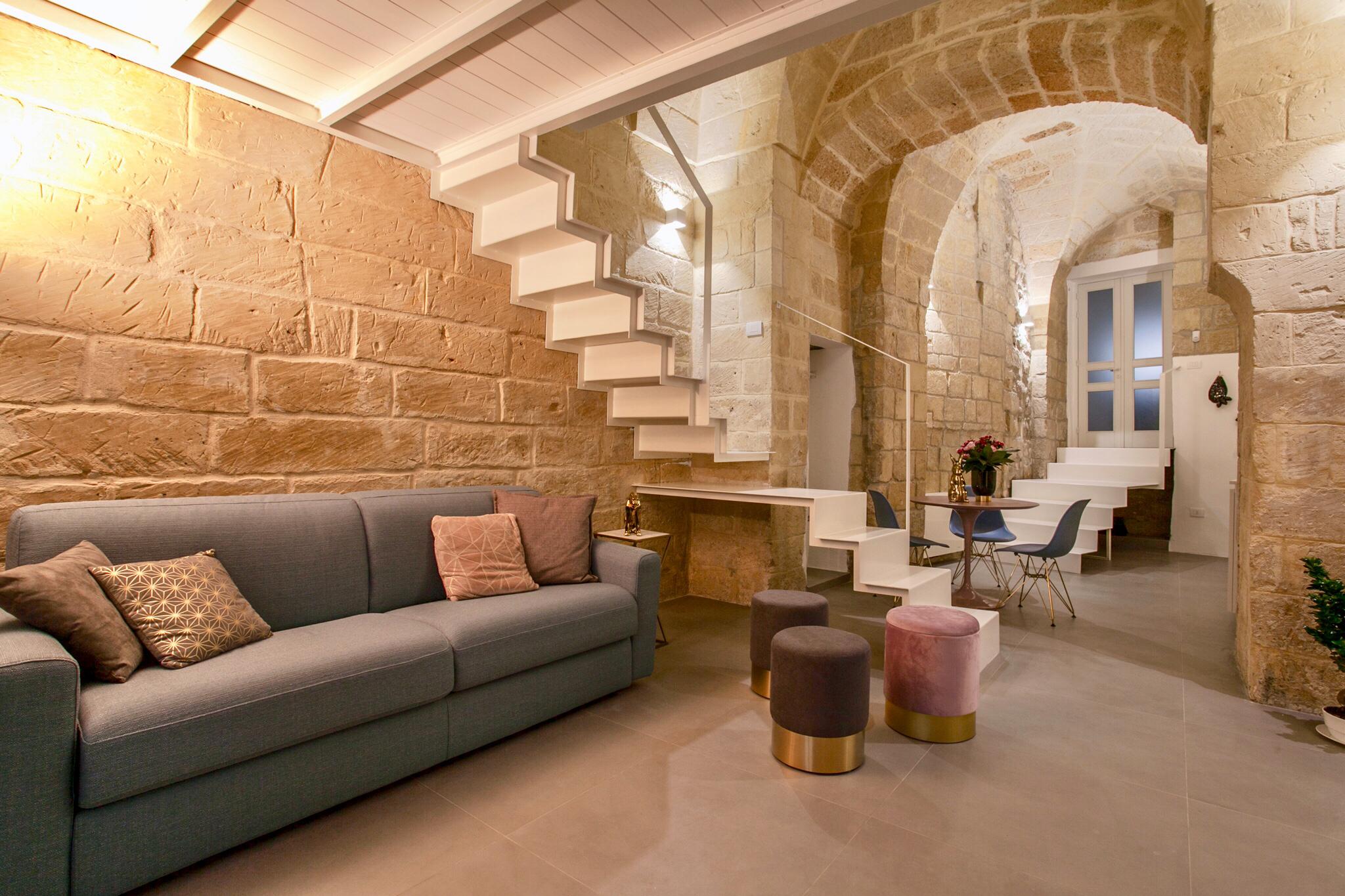 Soggiorno Con Pietra A Vista corte dei florio lecce pietra luxury apartment - apartments