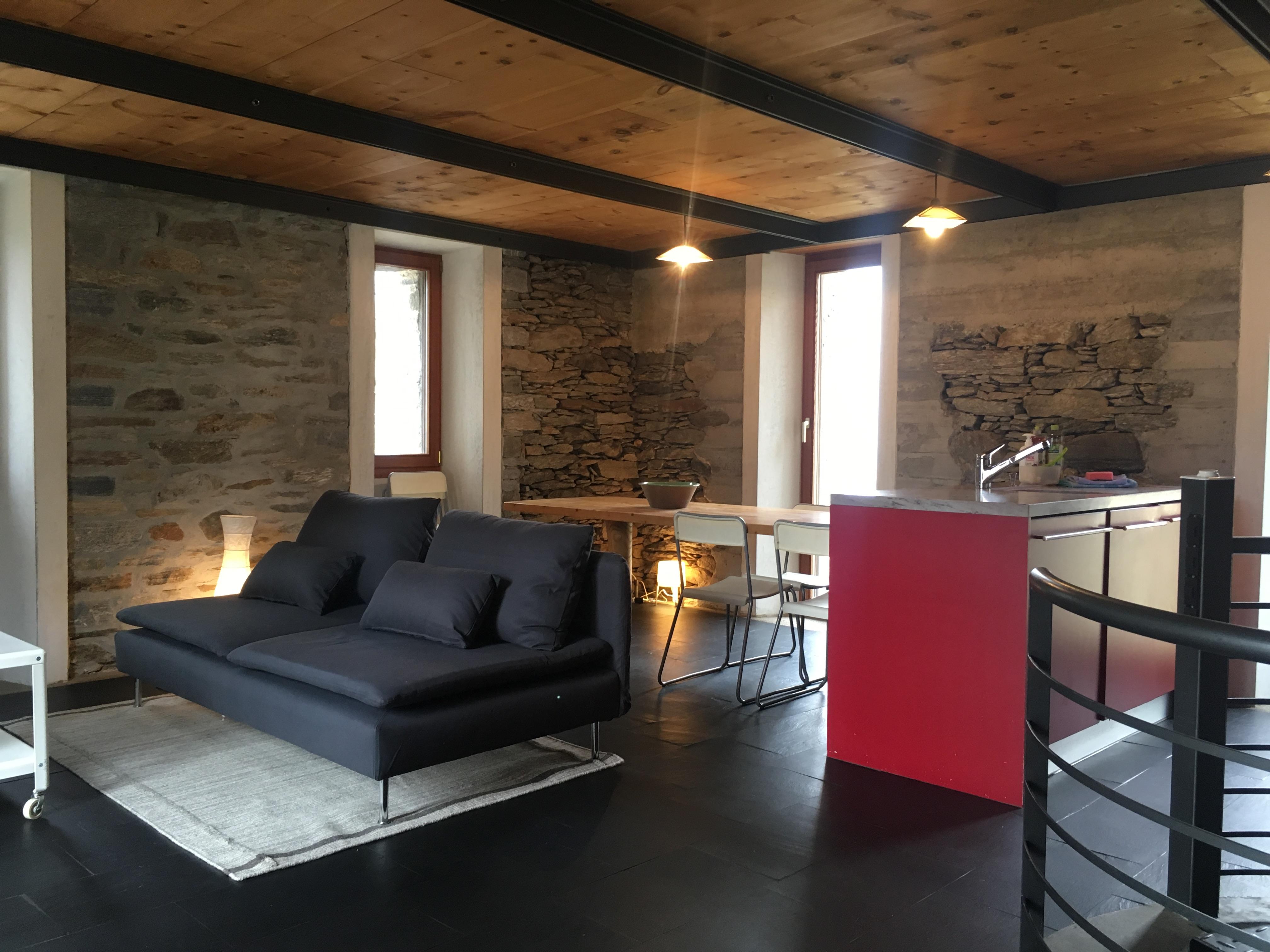 Cucina E Soggiorno Rustico rustico conceprio & sauna - cabins for rent in corzoneso