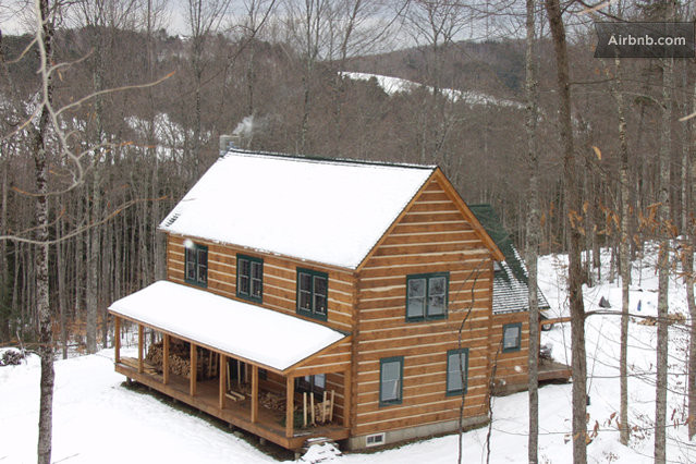 Colonial style log home sanctuary in barnard for Colonial log homes