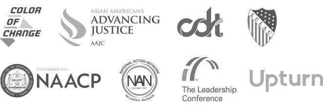 Logotipos de los socios con los que Airbnb colabora para combatir la discriminación. Nuestros socios incluyen: Asian Americans Advancing Justice, Center for Democracy & Technology, Color Of Change, The Leadership Conference, la Liga de Ciudadanos Latinoamericanos Unidos, NAACP, National Action Network y Upturn.